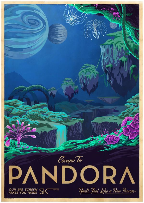 affiches de voyage pandora avatar   Affiches de voyage inspirées de films   voyage vintage publicité poster photo image film affiche