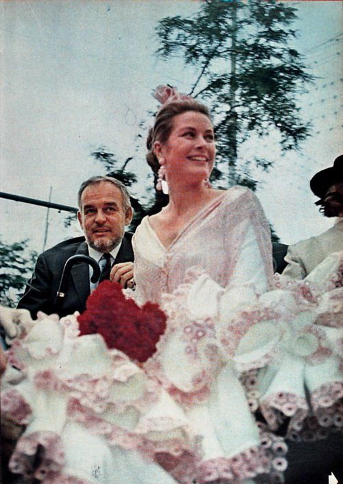SEVILLE, SPAIN - APRIL 21, 1966: Princess Grace and Prince Rainier of Monaco attend an event during a trip in Seville, Spain.