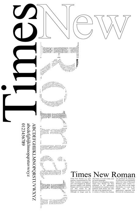 """A Times New Roman poster showing some examples and explaining its history. I like the design choice of offsetting each word and text filling """"Roman"""""""