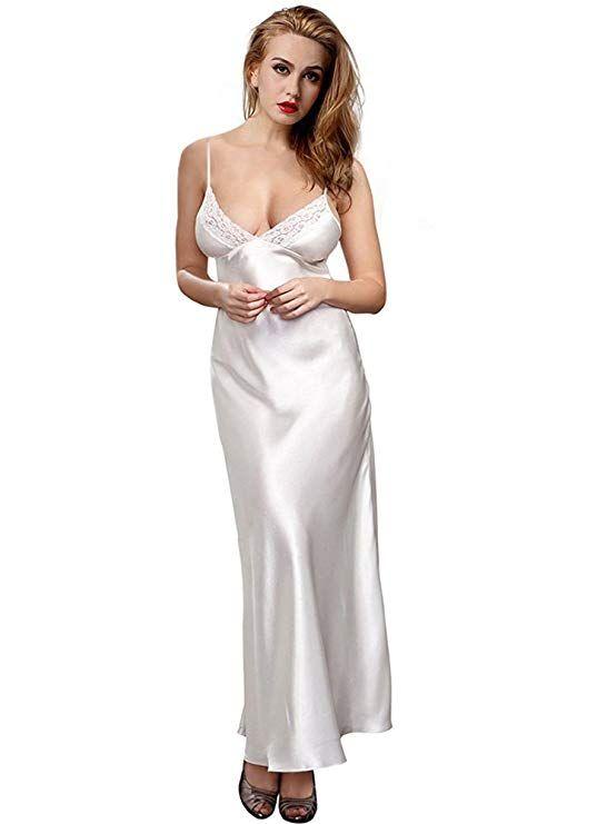 01dcc209d29f ETAOLINE Women's Long Nightdress Full Length Nightwear Lace Trimmed  Sleepwear Ladies Nightie Chemise Negligee: Amazon.co.uk: Clothing