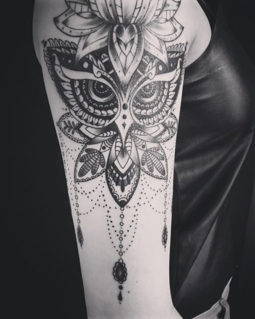 Addition that I did to existing lotus done else where. Owl mandala piece. Call me or text me if you have any tattoo questions. 3477771774. -Oksana (at Body And Soul Tattoo)  The eyes are gorgeous