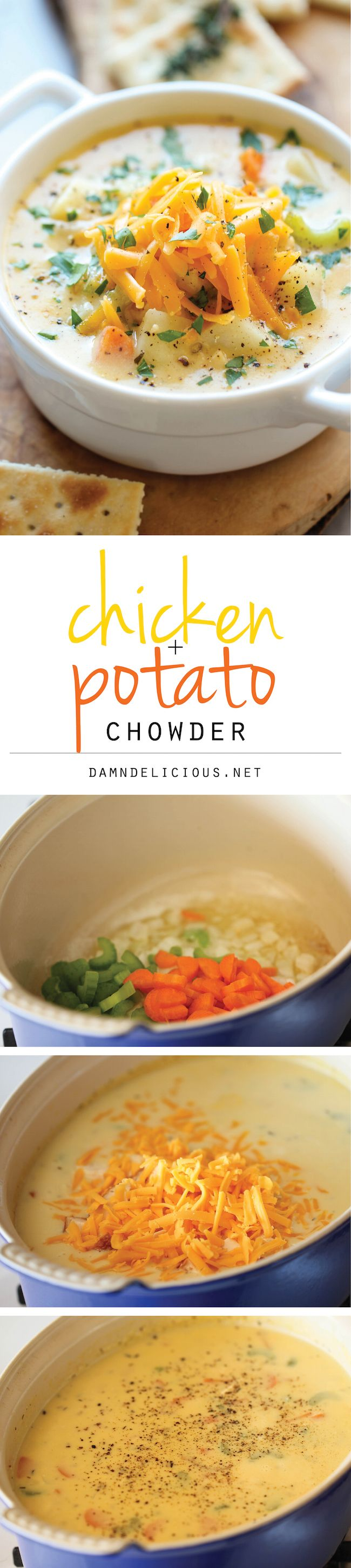 Chicken and Potato Chowder - Just like mom's comforting chicken noodle soup, but it's even creamier and loaded with cheesy goodness!
