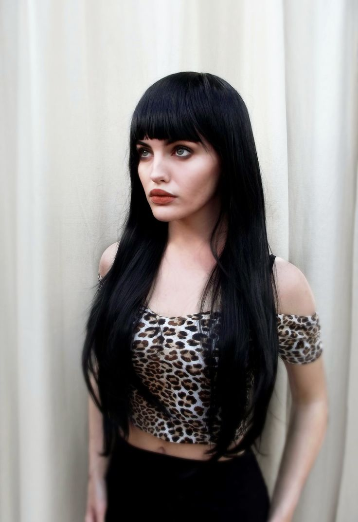 Long Black Fringe Wig Gothic Lolita Cosplay Lush Wig - Worldwide Tracked Delivery