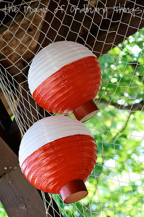 Fishing Themed Birthday party - paper lanterns turned bobbers. Look under Thursday, Sept 13, 2012 entry. Would be great theme for men's breakfast at church.