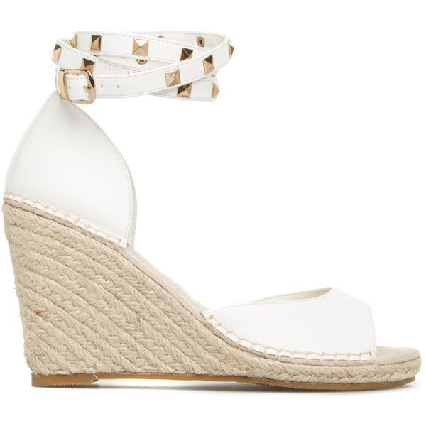 ShoeDazzle Wedge Tinah Womens White ❤ liked on Polyvore featuring shoes, wedges, white, wedge sole shoes, summer wedge shoes, white ankle strap shoes, ankle strap shoes and white wedge shoes