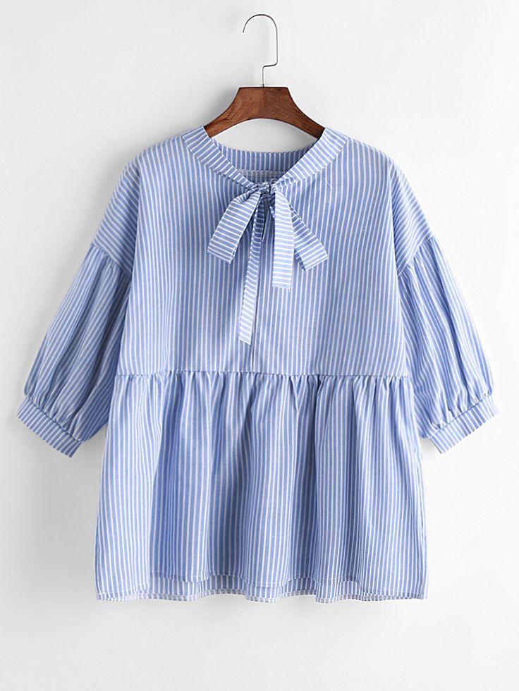 Shop Blue Vertical Striped Bow Tie Neck Peplum Blouse online. SheIn offers Blue Vertical Striped Bow Tie Neck Peplum Blouse & more to fit your fashionable needs.