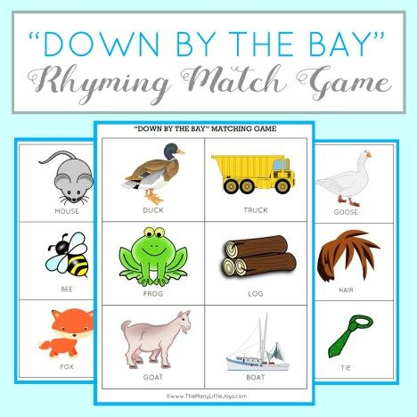 """Teaching kids to rhyme is a great way to improve reading skills. Here's a fun preschool learning activity and FREE printable game based on the popular kids' song """"Down By the Bay""""."""
