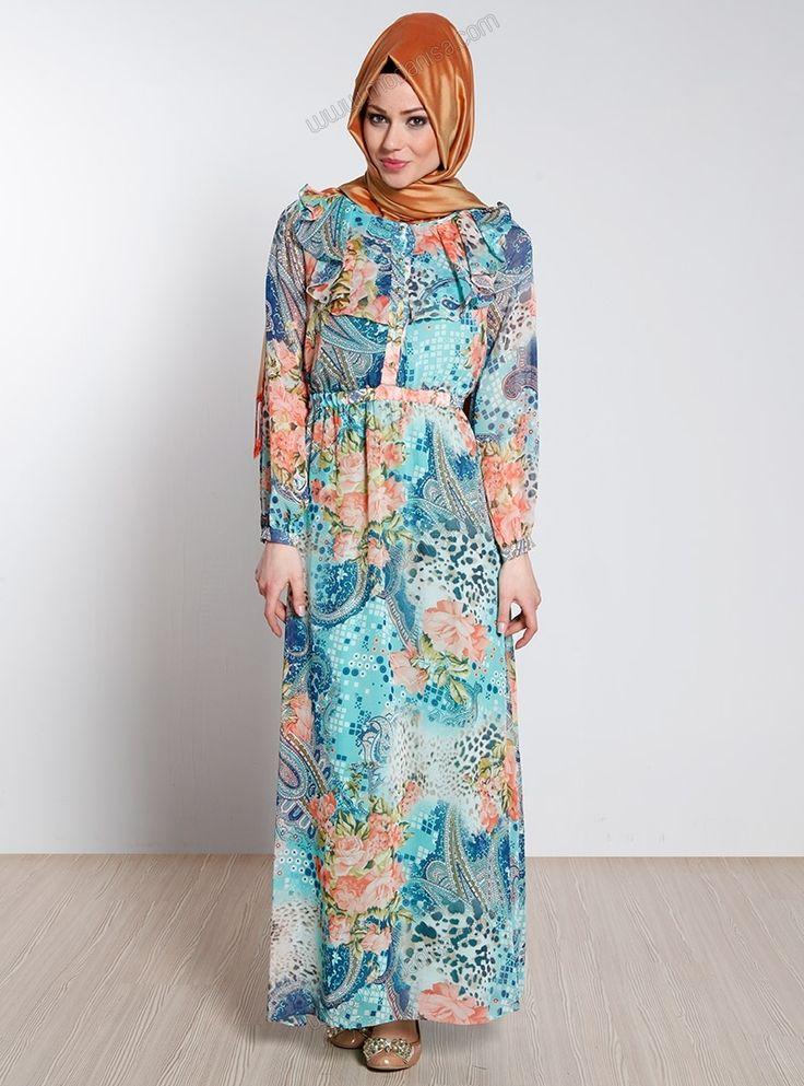 Ön Kısmı Fırfırlı Şifon Elbise 13YJG4218 - Turkuaz - Topless