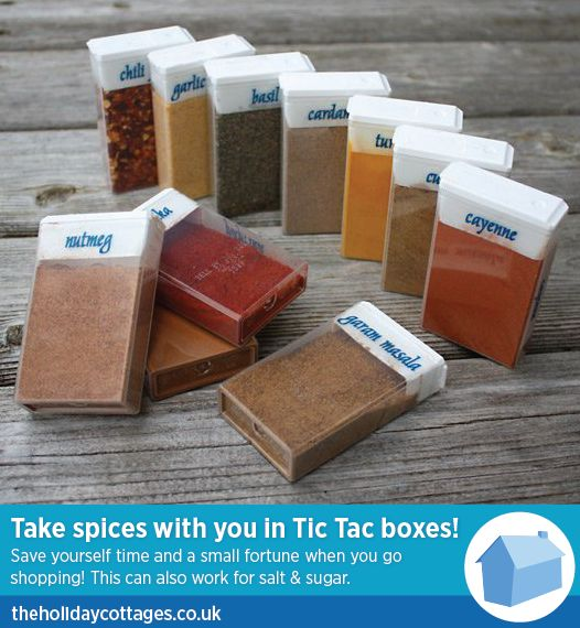 #HolidayCottagesSelfCateringTip. Spices in tic-tac boxes. Travel Tips. Self Catering Tips. Travel. Holiday. Cottages. Self Catering. UK