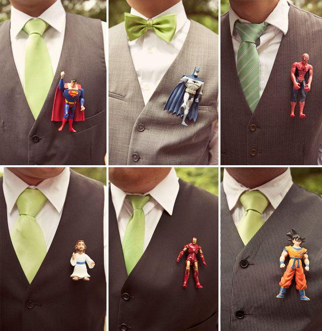 superhero boutonnieres (is the one on the bottom left, Jesus?? :D)Stuff, Wedding Ideas, Cute Ideas, Action Figures, Superheroes, Super Heroes, Groomsmen Boutonnier, Flower, Superhero Boutonnier
