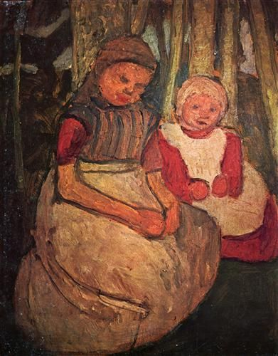 Paula Modersohn-Becker - Figurative Painting - German Expressionism - Two girls seated in the birch forest