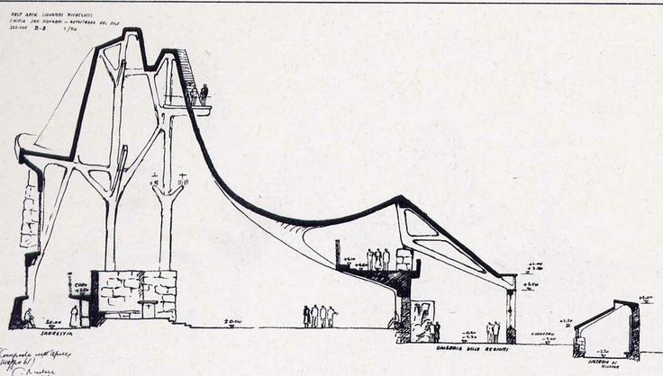 San Giovanni Battista of the Autostrada by Giovanni Michelucci. This drawing has changed everything for me today.