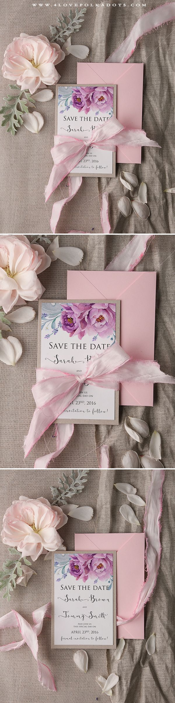 Wedding Save the Date Card with Flowers #romantic #summerwedding #flowers