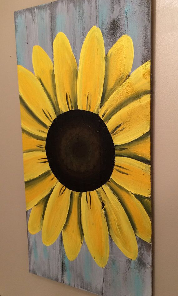 Reclaimed Wood Art, Sunflower Sign, Custom Reclaimed Wood Decor