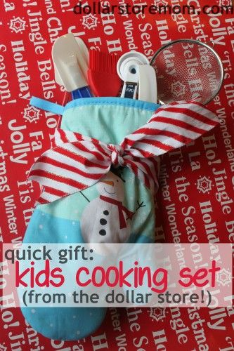 Quick Kids' Gift -- cooking set with stuff from the dollar store