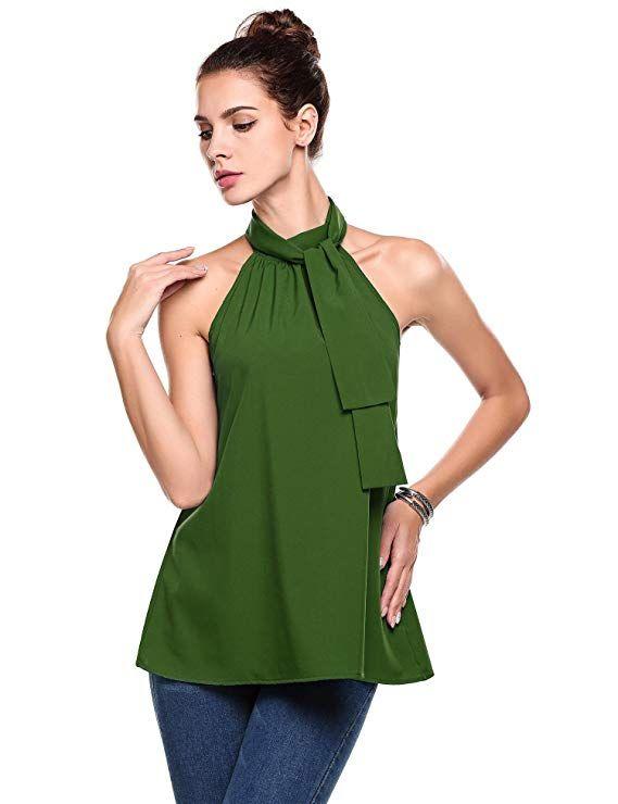05f8d792a86de ThinIce Women Summer Sleeveless Office Blouse Halter Tie Back A Line Tank  Shirt