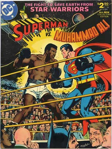 Superman vs Muhammad Ali comic. Love the graphics especially all the familiar faces of the crowd :D