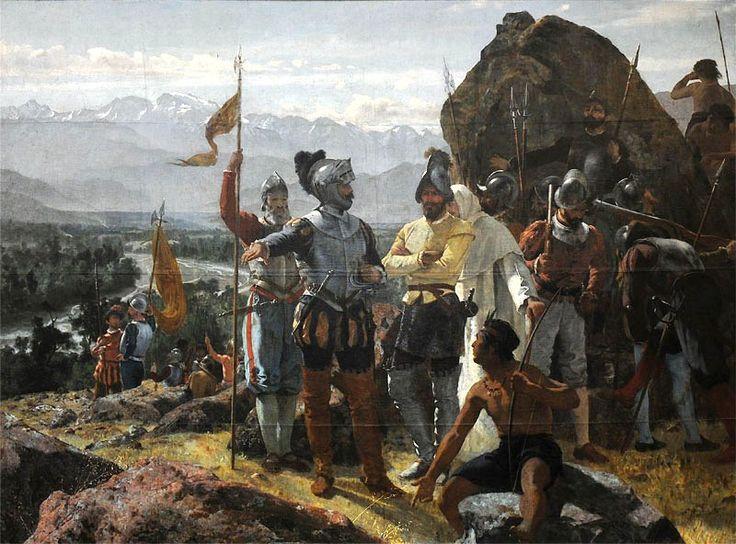 Pedro de Valdivia sticht Santagio de Chile. Schilderij van Pedro Lira, 1889