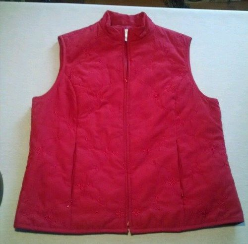 13.96$  Buy here - http://vikjg.justgood.pw/vig/item.php?t=fot3ci24890 - TALBOTS Size M Women's Red Polyester Blend Zip Up Vest (Embroidered Floral)