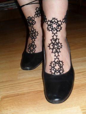 Bracelet de pied en dentelle de frivolité , Bracelet de pied en dentelle de frivolité , Sandales bijou de pied au dentelle noire , bracelets de cheville : Bracelet par carmentatting