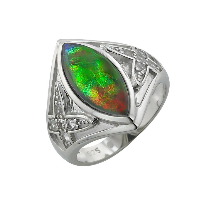 Buy Sterling Silver Marquise Ammolite & White Sapphire Ring, Ammolite Gems and Rings from The Shopping Channel, Canada's home shopping network - Online Shopping for Canadians