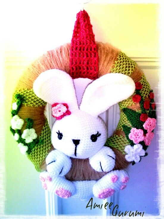 Horgolt húsvéti ajtódísz / Crochet Easter Wreath