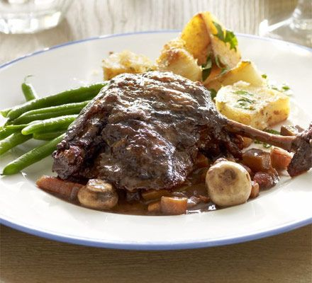 Duck au vin. Coq au vin is a delicious bistro regular, but this Easter version made with duck has an even richer flavour