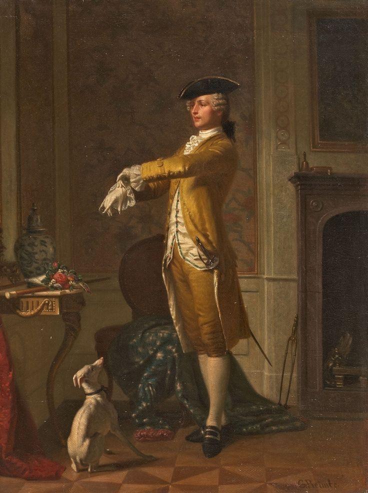 junger edelmann im rokoko kost m mit hund young nobleman in rococo costume with dog 1866. Black Bedroom Furniture Sets. Home Design Ideas
