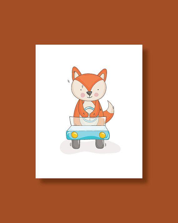 Fox Nursery Art Print  Baby Fox Driving a Car  by HappyLittleBeans