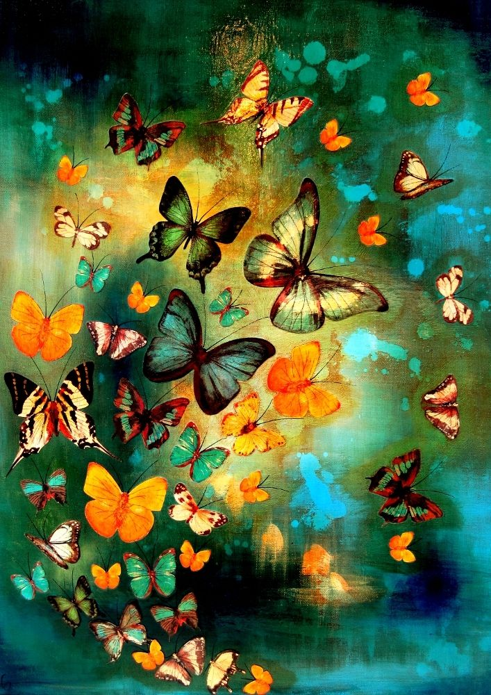 Lily Greenwood Signed Giclée Print - Butterflies on Blues/Greens (A4/A3/A2)   Lily Greenwood