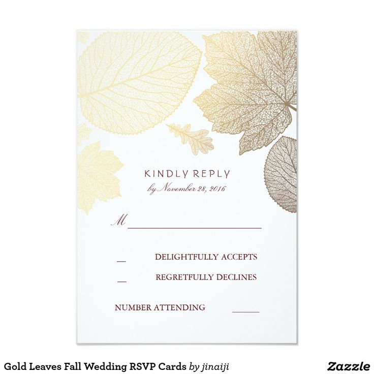 Gold Leaves Fall Wedding RSVP Cards Gold fall leaves elegant wedding reply cards with burgundy color text