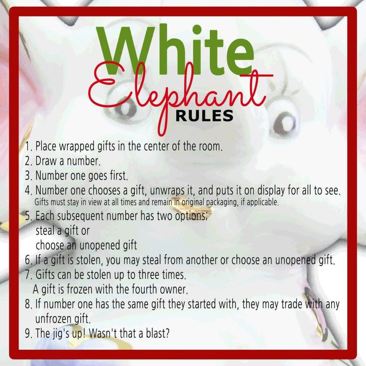 White Elephant Gift Exchange Rules, Instructions, Game ...
