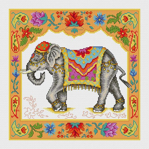 Indian Elephant Cross Stitch PDF Pattern by CrossStitchSusie