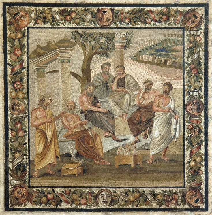 """theancientwayoflife: """"~Plato's academy. Mosaic from Pompeii (Villa of T. Siminius Stephanus). Second style. Date: Early 1st century BCE. Naples, National Archaeological Museum (Museo archeologico nazionale di Napoli) """""""