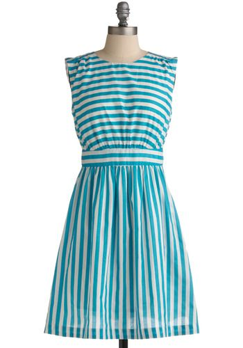 Too Much Fun Dress in Peacock: Summer Dresses, Peacocks, Color, Modcloth, Blue Striped Dresses, Stripes, End, Emily