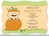 Little Pumpkin Caucasian - Baby Shower Invitations With Squiggle Shape
