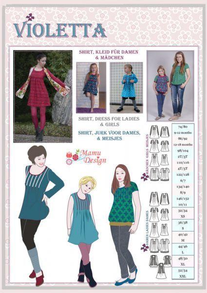 VIOLETTA - Mehrgrößen Schnittmuster Shirt Damen und Mädchen