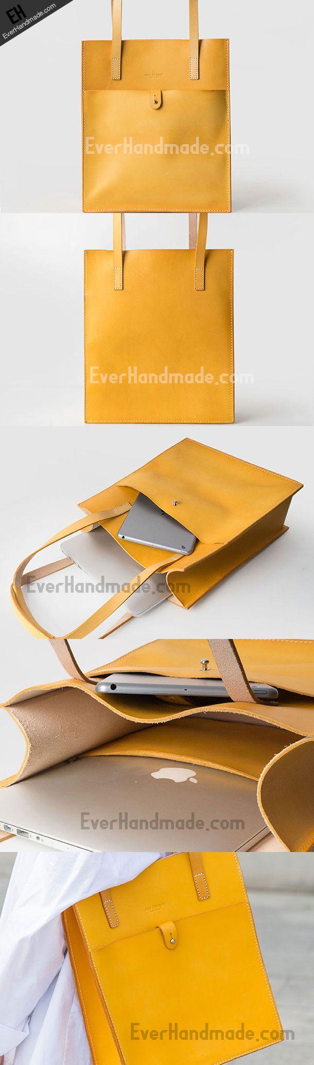Handmade Leather handbag shoulder tote bag yellow red brown for