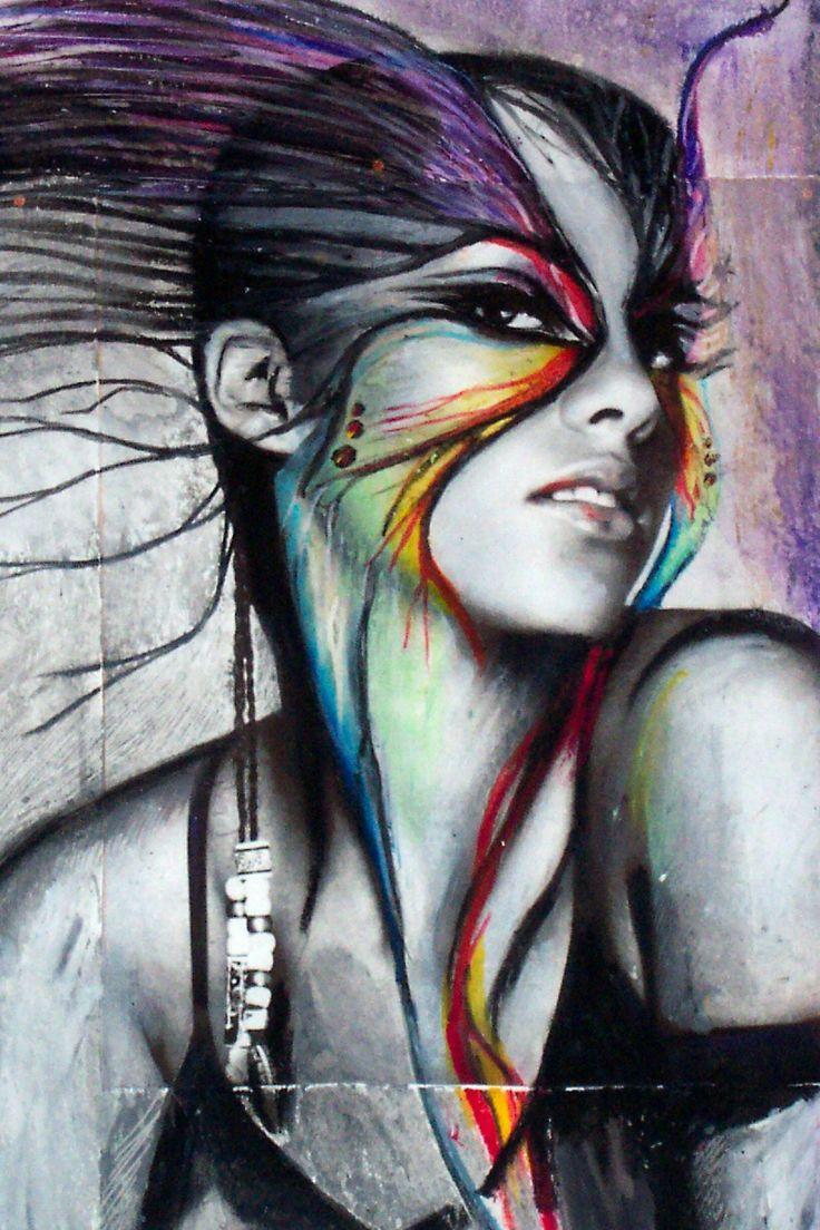 Rainbow landscape original oil pastel drawing - Oil Pastels