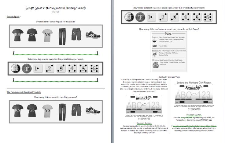 Slightly Skewed Teaching Probability Day 1 Sample Spaces and – Fundamental Counting Principle Worksheet