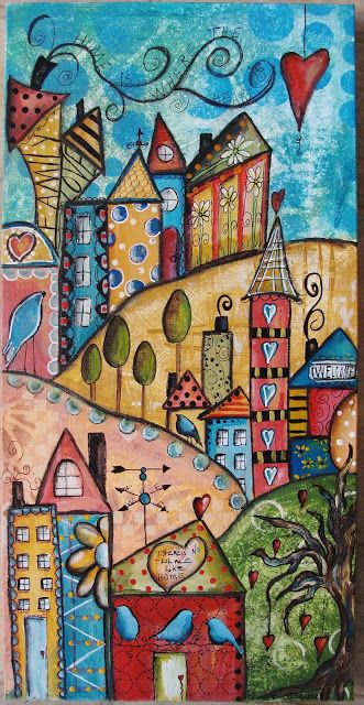 """My Art Journal"" by Diane Salter. Online course ""My Funky Little City Scapes"" with Jodi Ohl"