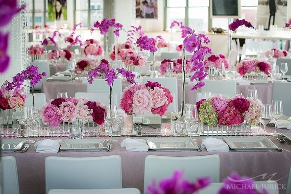 Modern Pink Bat Mitzvah ~ Absolutely stunning flowers throughout this event!!
