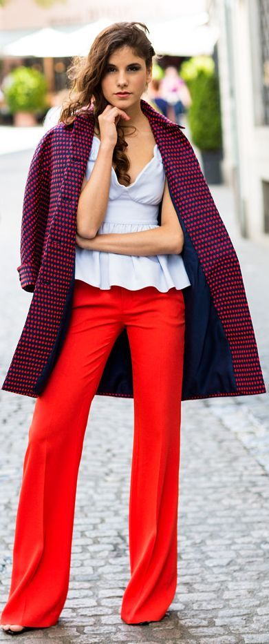 I'm not a fan of the top with this look. But, I like the idea of the red pants with the coat, and the overall silhouette.