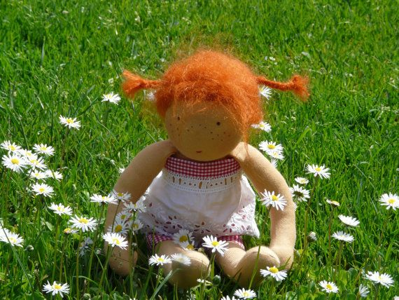 Waldorf doll Pippi 14 inches tall waldorf inspired by mopitokids