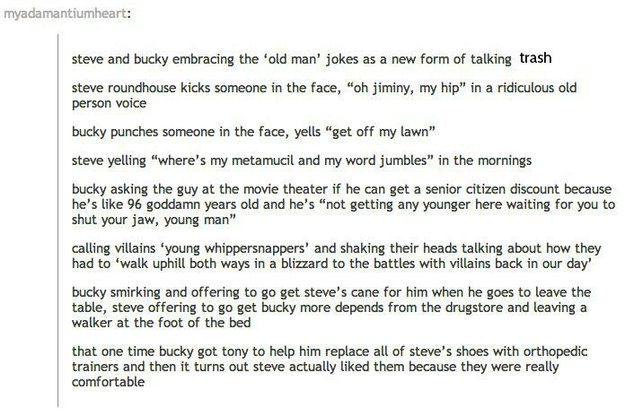 "I am actually loling at the ""get off my lawn"" and ""oh jiminy my hip"""