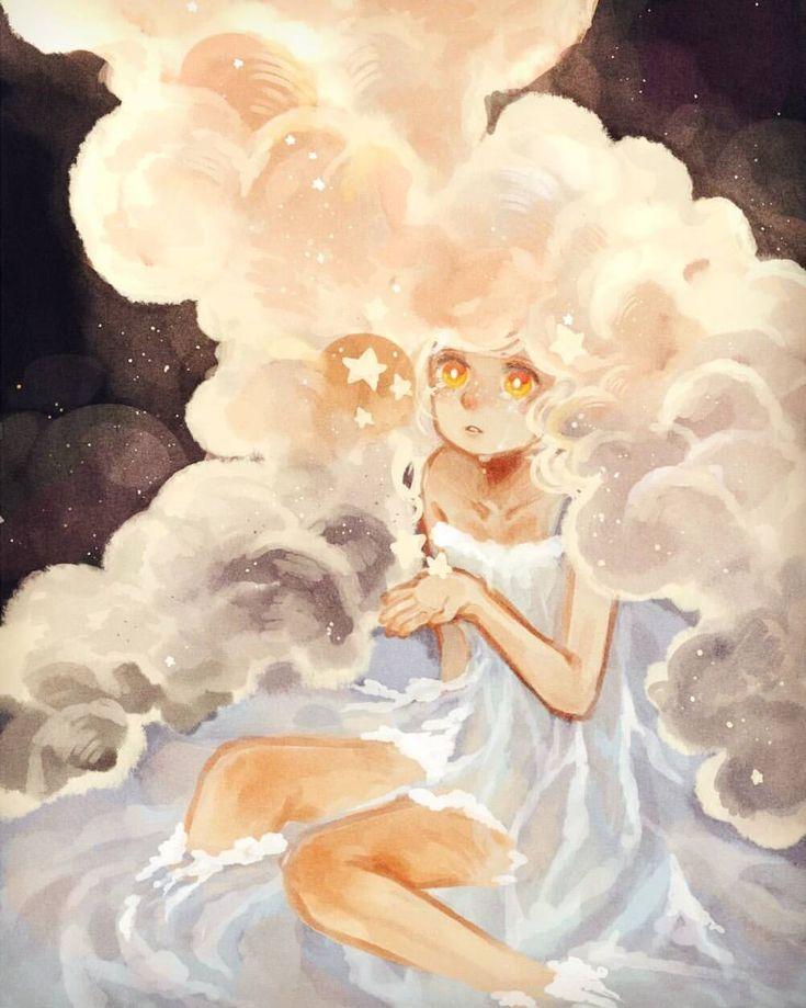 //Cloudy hair, river dress, sunset eyes #digitalart #illustration #original #oc