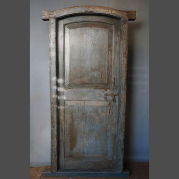 Heavy Burmese Teak door with panels in oversized frame and original iron…