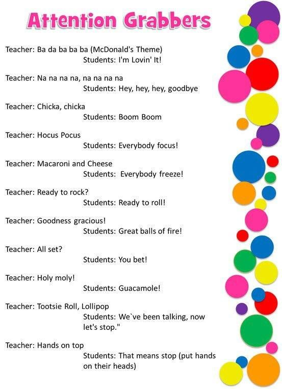 Classroom Attention Grabbers. -- For those days when you just don't know what else to do to get the students attention! These would most definitely grab my attention. My favorite one is the lollipop one! :) 3370
