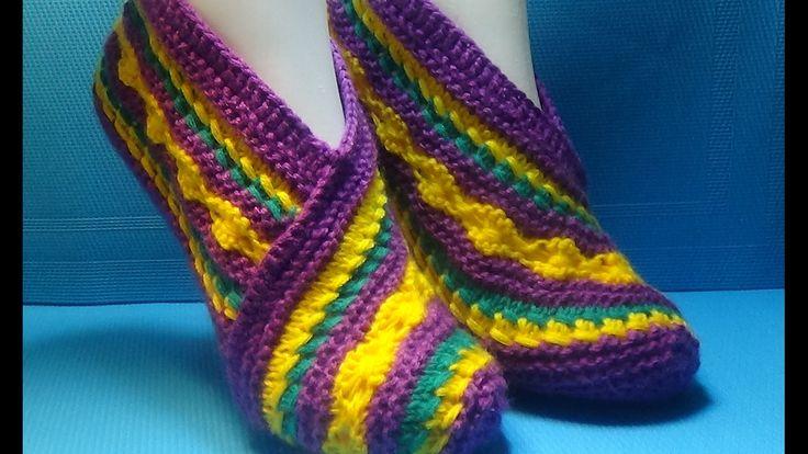 Вязание спицами домашние тапочки #105 - YouTube