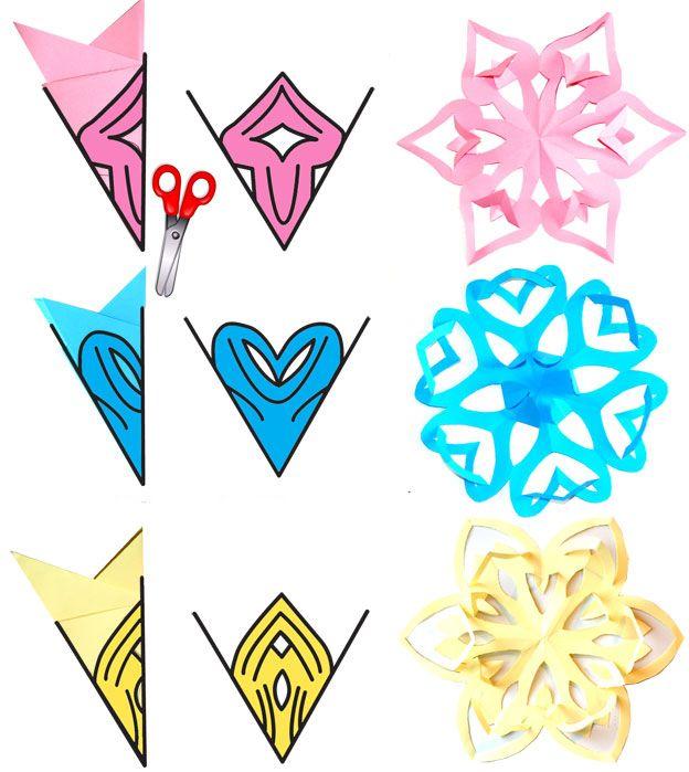 Heart Paper Snowflake Cutouts Templates